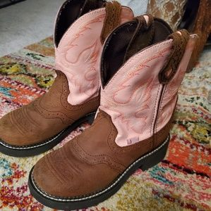 Justin gypsy pink and brown cowboy boots